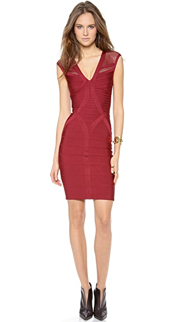 Herve Leger Chloe Dress with Embroidered Shoulders