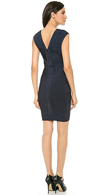Herve Leger Kate Cap Sleeve Dress