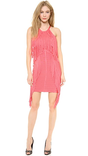 Herve Leger Metzi Fringe Cocktail Dress
