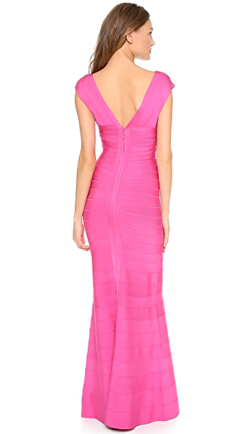 Herve Leger Grace Deep V Gown