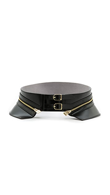 Herve Leger Leather Zipper Belt