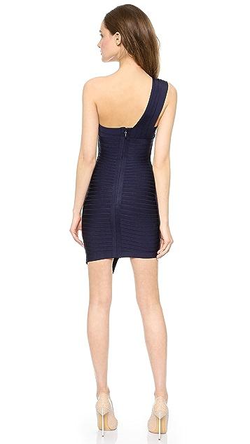 Herve Leger Maran One Shoulder Dress