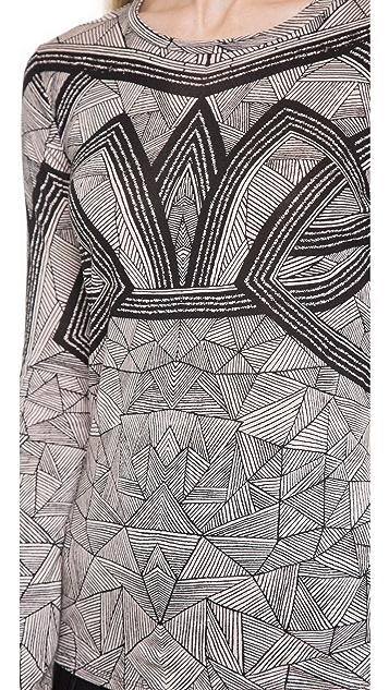 Herve Leger Printed Long Sleeve Top
