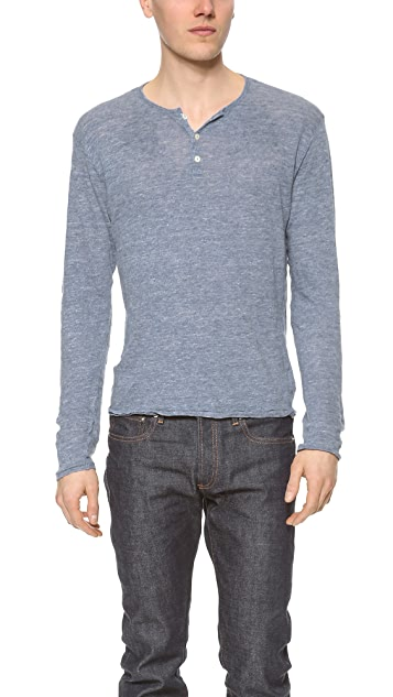 Hartford Linen Long Sleeve Henley