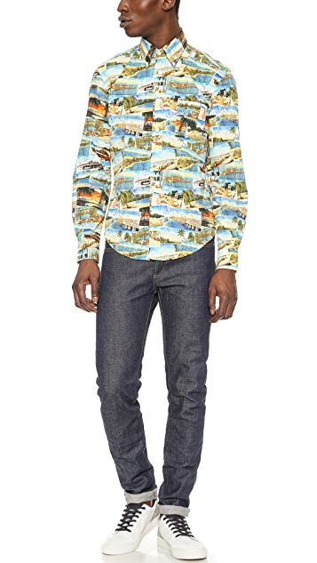 Hartford Postcard Print Shirt