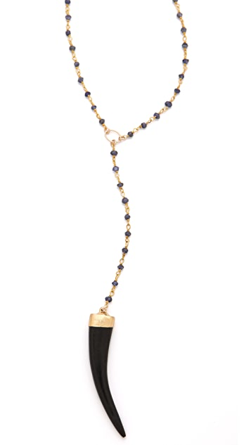 Heather Hawkins Y Necklace with Black Horn