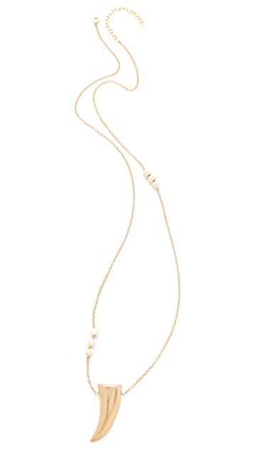 Heather Hawkins Bone Bead Gold Horn Necklace