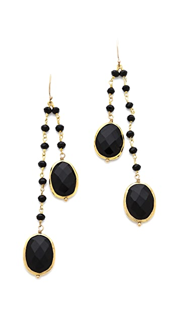 Heather Hawkins 2 Layer Bezel Gemstone Earrings