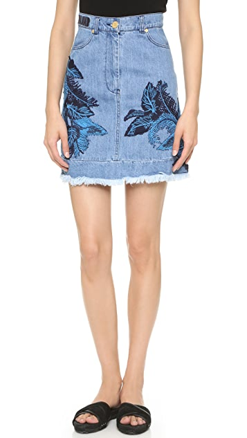 House of Holland Denim Embroidery Skirt