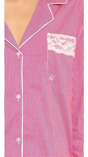 Heidi Klum Imprime Vichy Long Pajama Set