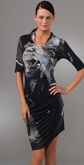 Helmut Lang Tryphid Print Side Drape Dress