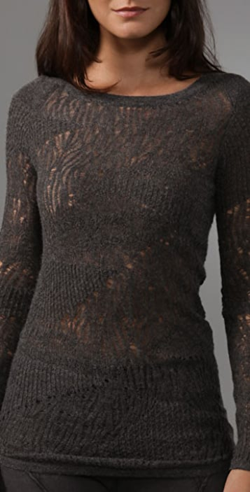 Helmut Lang Fine Lace Long Sleeve Top