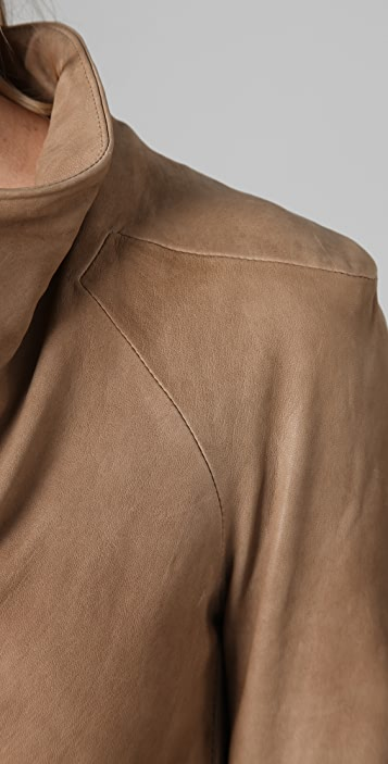 Helmut Lang Stoned Drop Neck Leather Jacket