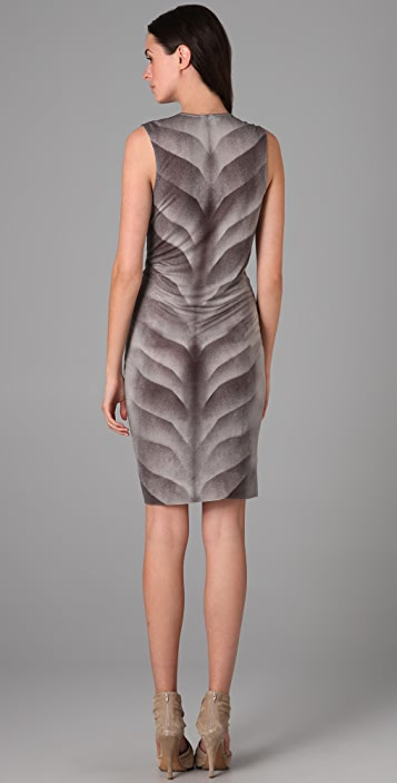Helmut Lang Cowl Gradient Print Dress