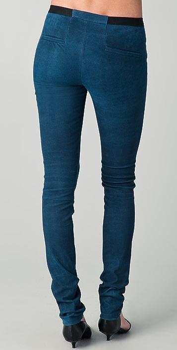 Helmut Lang Embossed Leather Leggings
