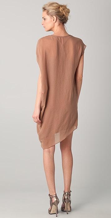 Helmut Lang V Neck Asymmetrical Dress