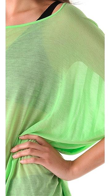 Helmut Lang Viscose Film Draped Sleeve Tee