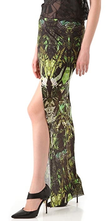 Helmut Lang Cicadae Print Overlap Maxi Skirt