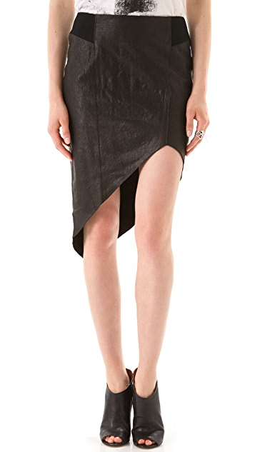 Helmut Lang Petrol Asymmetrical Leather Skirt