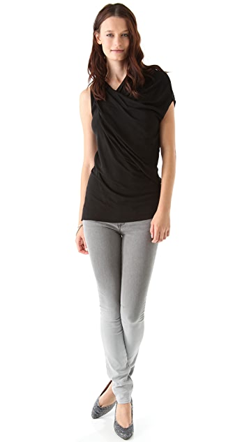 Helmut Lang Helix Jersey Twist Neck Top