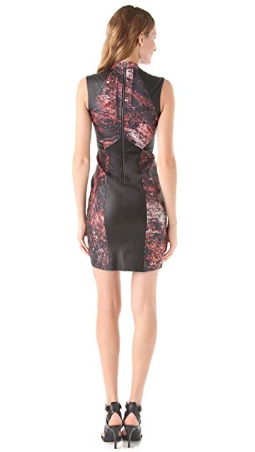 Helmut Lang Midnight Floral Leather Dress