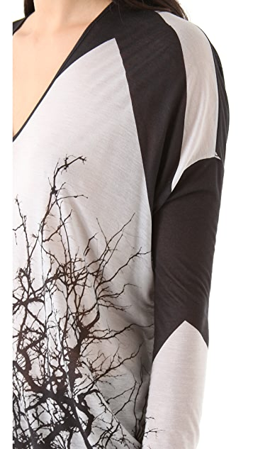 Helmut Lang Tree Collage Jersey Top