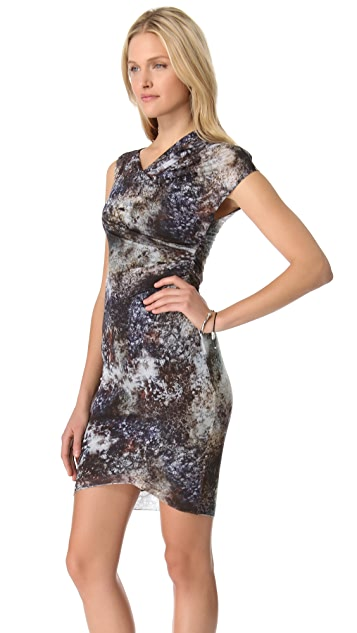 Helmut Lang Oxide Print Twist Dress