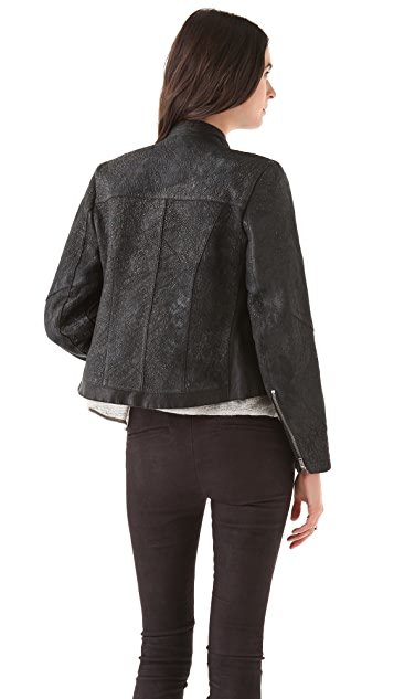 Helmut Lang Crystal Leather Crop Jacket