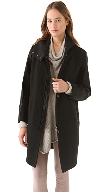Helmut Lang Willowed Felt Boxy Coat