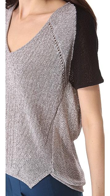 Helmut Lang Melange Short Sleeve Sweater