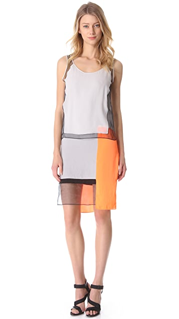 Helmut Lang Chroma Drape Colorblock Dress