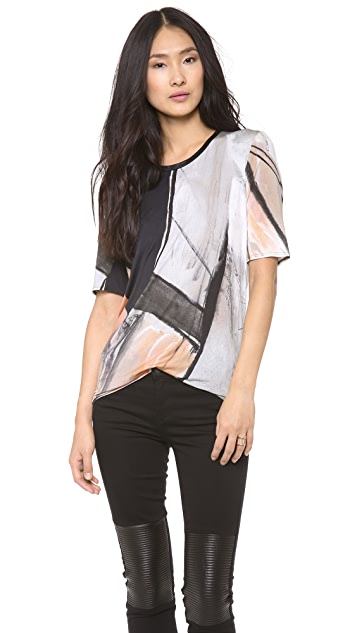 Helmut Lang Printed Tee with Ribbed Neck