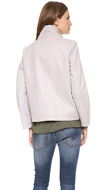 Helmut Lang Reversible Felt Coat with Fur Trim