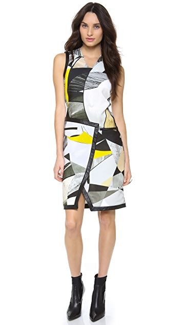 Helmut Lang Fold Over Cubist Print Dress
