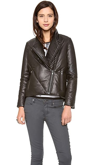 Helmut Lang Pitch Leather Puffer Jacket