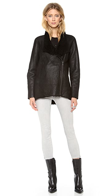 Helmut Lang Wrecked Shearling Double Collar Coat