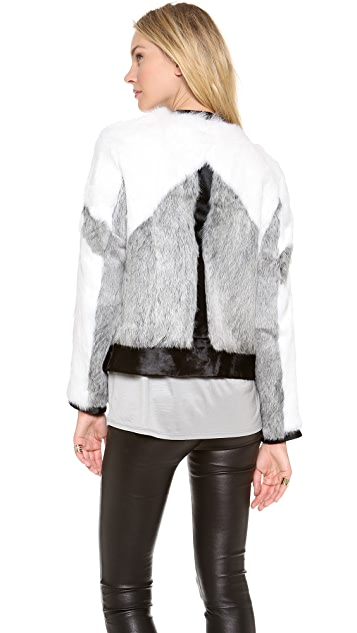 Helmut Lang Facet Fur Bomber Jacket