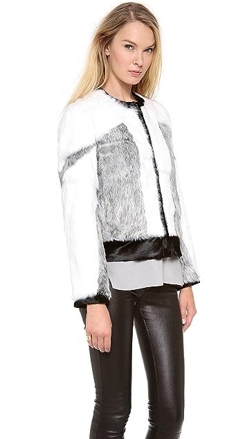 Helmut Lang Facet Fur Bomber Jacket