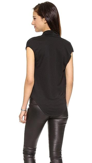 Helmut Lang Feather Jersey Drape Shirt