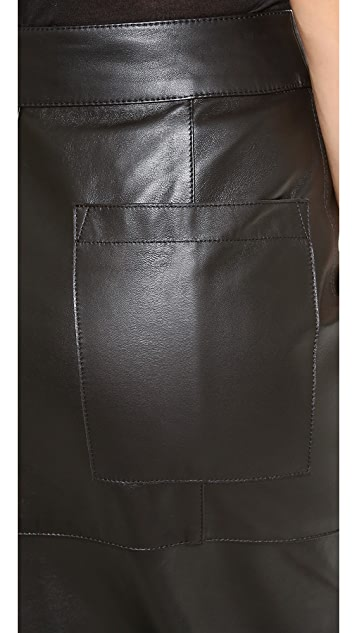 Helmut Lang High Waisted Leather Skirt