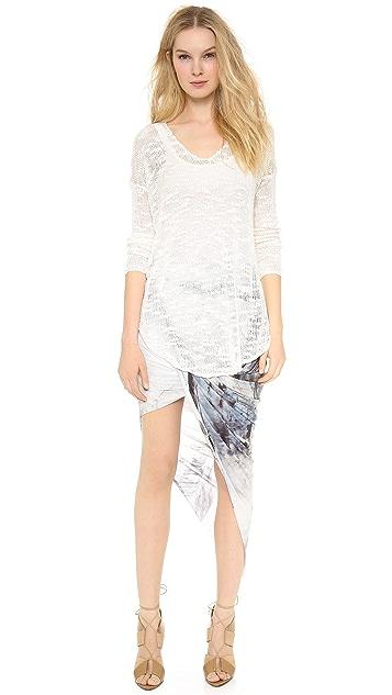 Helmut Lang Asymmetrical Print Wrap Skirt