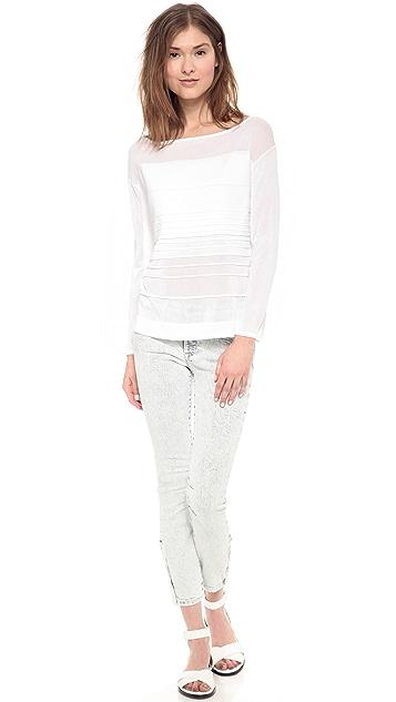 Helmut Lang Sky Wash Crop Skinny Jeans