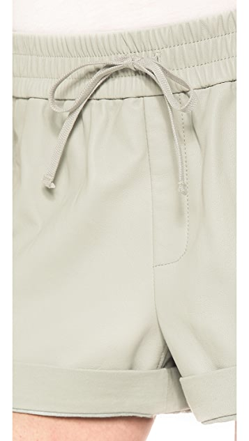 Helmut Lang Washed Leather Trimmed Shorts