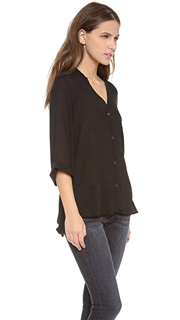 Helmut Lang Lush Voile Button Down Top