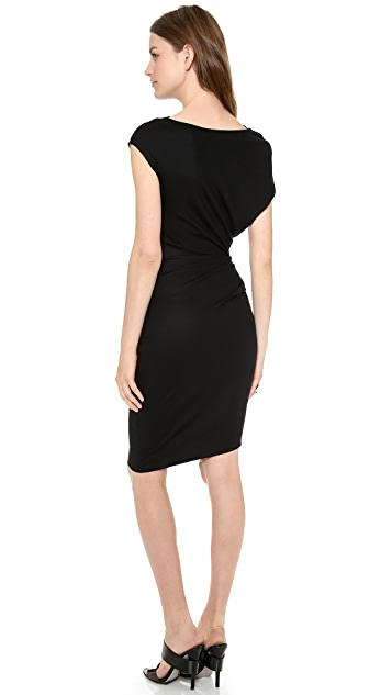 Helmut Lang Sonar Wool Asymmetrical Dress