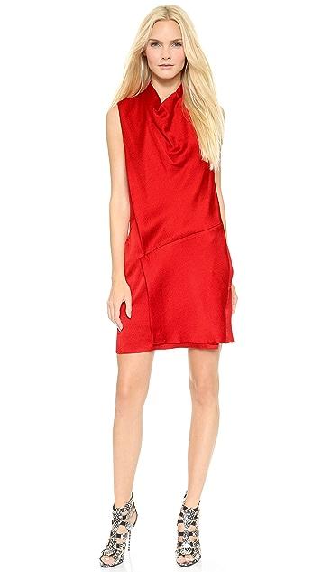 Helmut Lang Drape Neck Overlay Dress