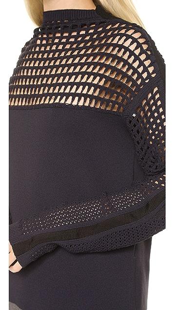 Helmut Lang Micro Grid Crop Pullover