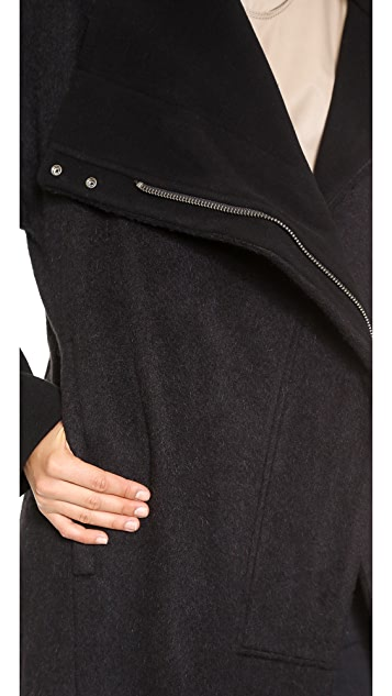 Helmut Lang High Collar Wool Coat