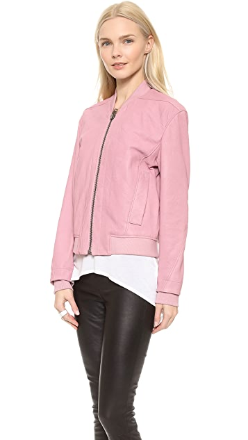 Helmut Lang Leather Bomber Jacket