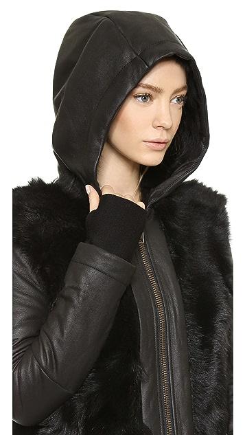 Helmut Lang Pillar Shearling Hooded Jacket
